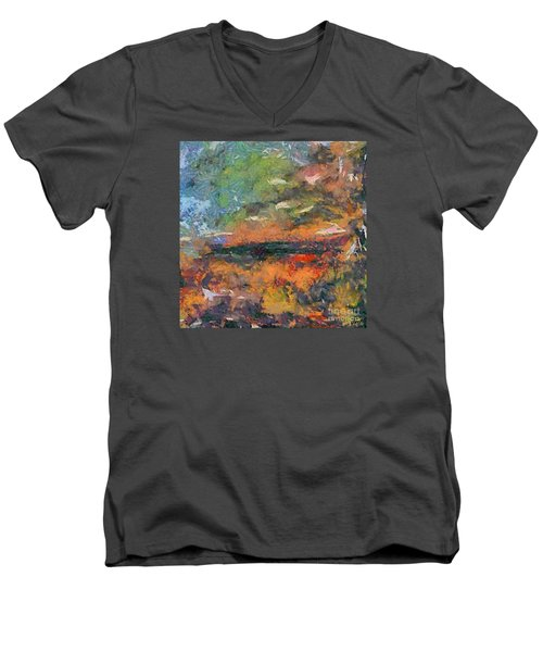Men's V-Neck T-Shirt featuring the painting At Dawn by Dragica  Micki Fortuna