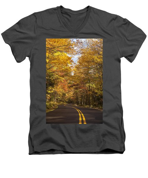 Men's V-Neck T-Shirt featuring the photograph Autumn Drive by Andrew Soundarajan