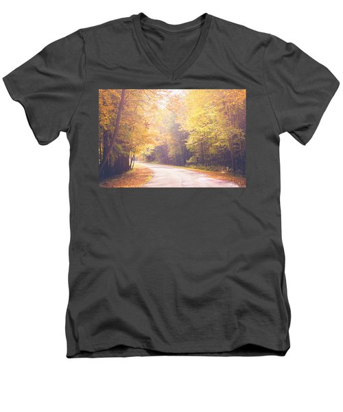 Autumn Light Men's V-Neck T-Shirt by Sara Frank