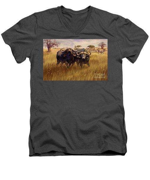 Men's V-Neck T-Shirt featuring the digital art 2 Bad Duga Boys  by Rob Corsetti