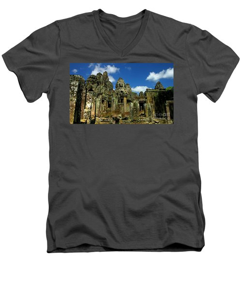 Men's V-Neck T-Shirt featuring the photograph Bayon Temple by Joey Agbayani