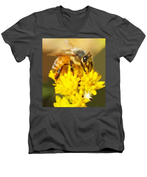 Men's V-Neck T-Shirt featuring the painting Bee On A Yellow Flower by Marian Cates