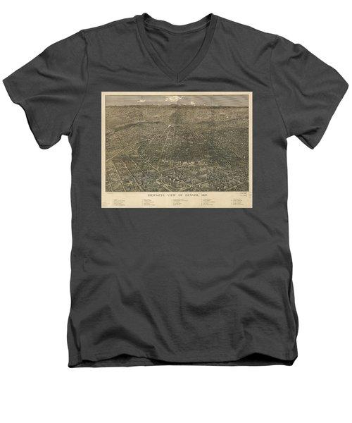 Birdseye Map Of Denver Colorado - 1887 Men's V-Neck T-Shirt by Eric Glaser