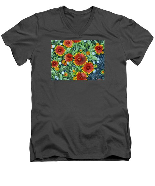 Blanket Flowers Men's V-Neck T-Shirt by Donna  Manaraze