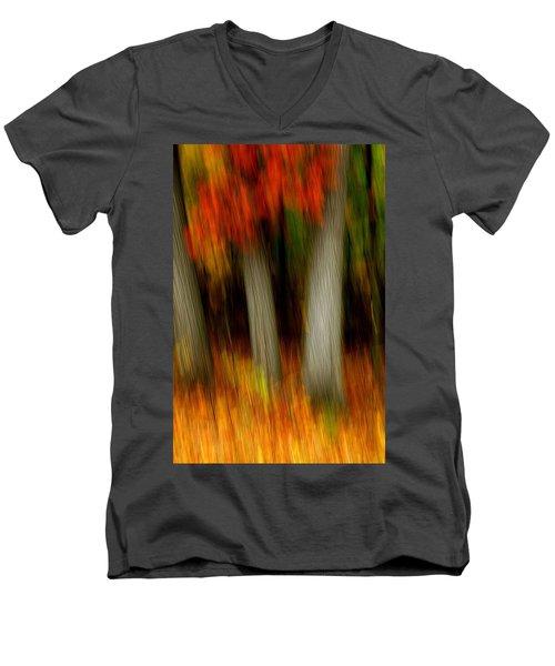 Blazing In The Woods Men's V-Neck T-Shirt