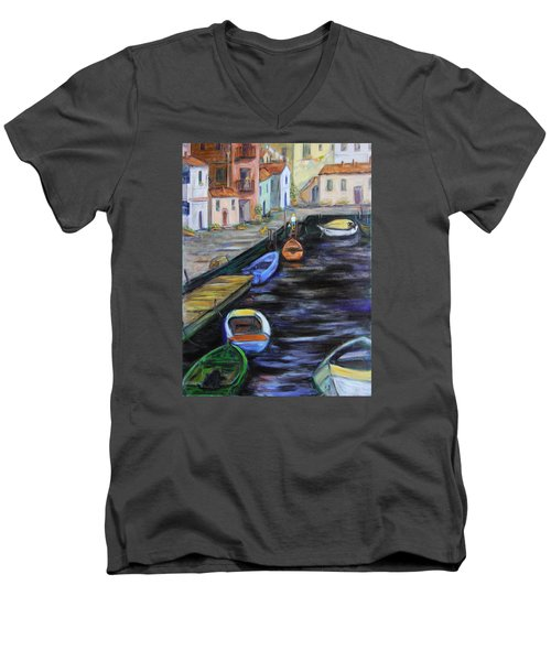 Men's V-Neck T-Shirt featuring the painting Boats In Front Of The Buildings IIi by Xueling Zou
