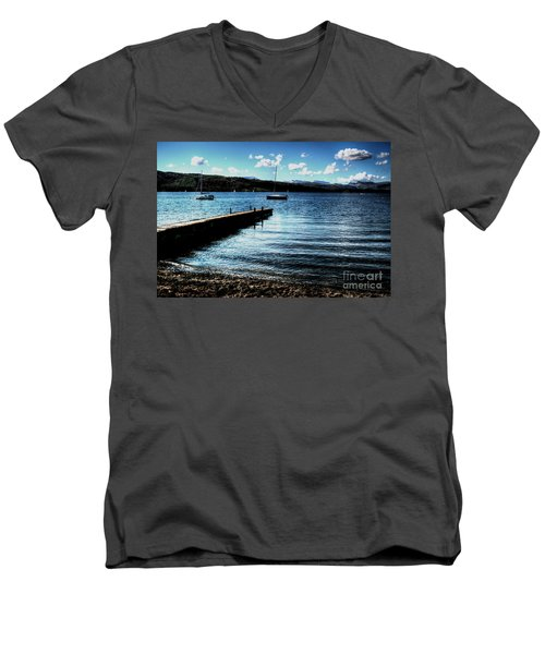 Men's V-Neck T-Shirt featuring the photograph Boats In Wales by Doc Braham