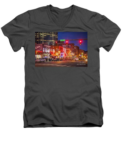 Broadway Street Nashville Men's V-Neck T-Shirt by Brian Jannsen