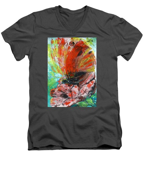 Butterfly And Flower Men's V-Neck T-Shirt by Jasna Dragun
