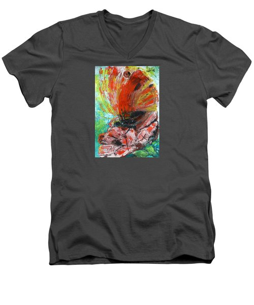 Men's V-Neck T-Shirt featuring the painting Butterfly And Flower by Jasna Dragun