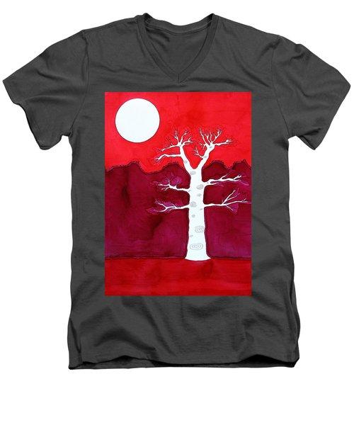 Canyon Tree Original Painting Men's V-Neck T-Shirt by Sol Luckman