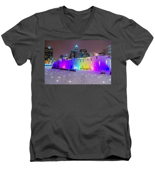 Charlotte Queen City Skyline Near Romare Bearden Park In Winter Snow Men's V-Neck T-Shirt