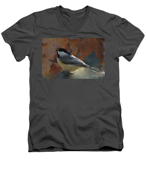 Men's V-Neck T-Shirt featuring the photograph Chickadee In Autumn by Janette Boyd