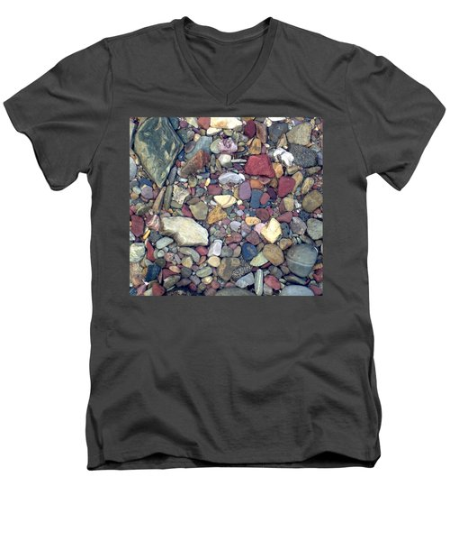 Colorful Lake Rocks Men's V-Neck T-Shirt