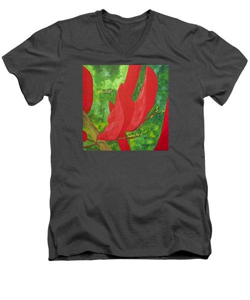 Coral Bean Tree Men's V-Neck T-Shirt by Mark Robbins