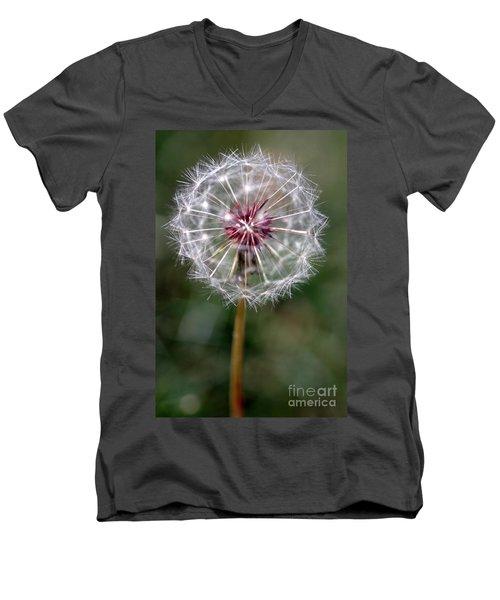 Men's V-Neck T-Shirt featuring the photograph Dandelion Seed Head by Henrik Lehnerer