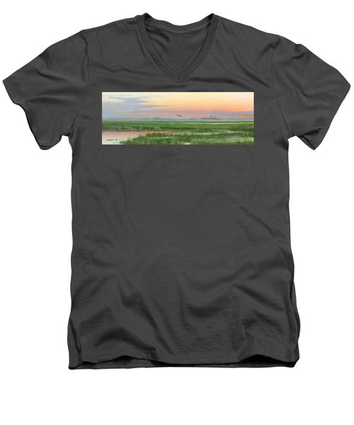 Men's V-Neck T-Shirt featuring the painting Divine Whisper by Mike Brown