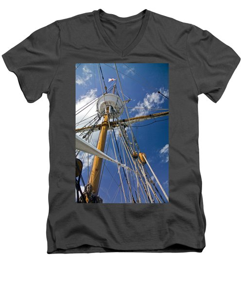 Men's V-Neck T-Shirt featuring the photograph Elizabeth II Mast Rigging by Greg Reed