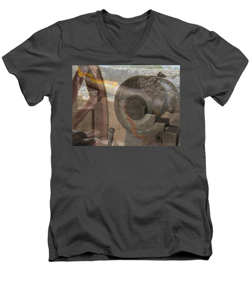 Men's V-Neck T-Shirt featuring the photograph Fire In The Hole by Ella Kaye Dickey