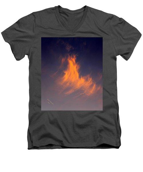 Fire In The Sky Men's V-Neck T-Shirt by Jeanette C Landstrom