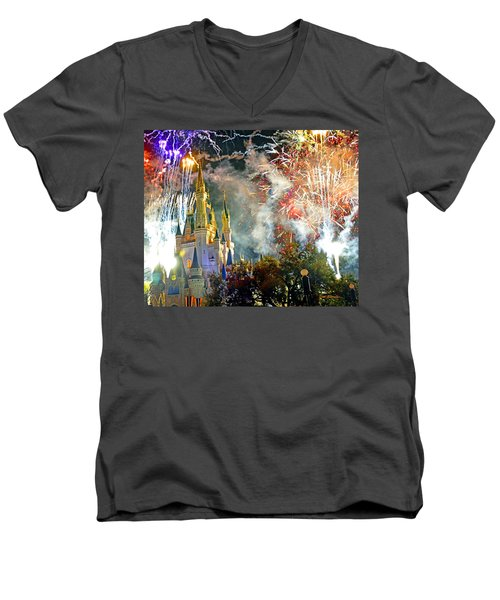 Fireworks Cinderellas Castle Walt Disney World Men's V-Neck T-Shirt