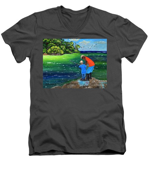 Men's V-Neck T-Shirt featuring the painting Fishing Buddies by Laura Forde