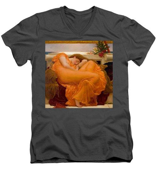 Flaming June Men's V-Neck T-Shirt by Frederick Leighton
