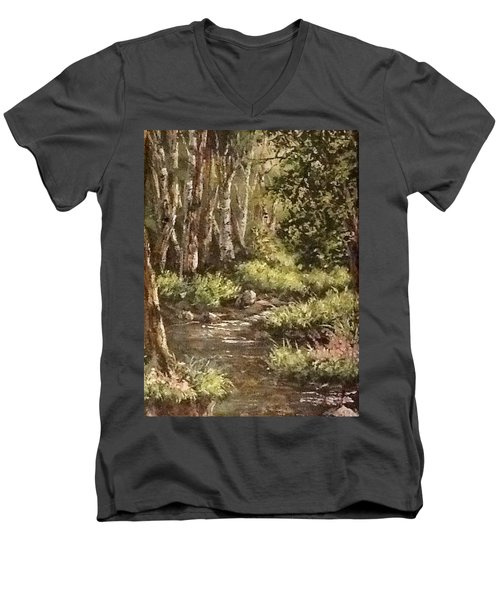 Men's V-Neck T-Shirt featuring the painting Forest Stream by Megan Walsh