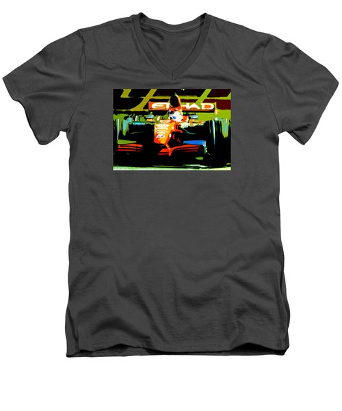 Men's V-Neck T-Shirt featuring the photograph Formula One by Michael Nowotny
