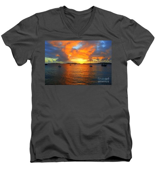 Frank Bay St. John U. S. Virgin Islands Sunset Men's V-Neck T-Shirt by Catherine Sherman