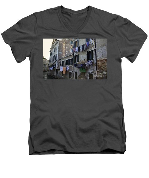 Hanging Out To Dry In Venice Men's V-Neck T-Shirt by Madeline Ellis