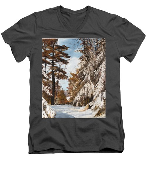 Men's V-Neck T-Shirt featuring the painting Holland Lake Lodge Road - Montana by Mary Ellen Anderson
