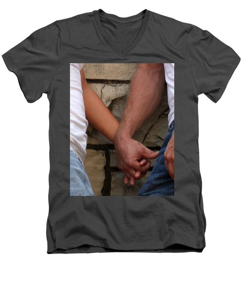 Men's V-Neck T-Shirt featuring the photograph I Wanna Hold Your Hand by Lesa Fine