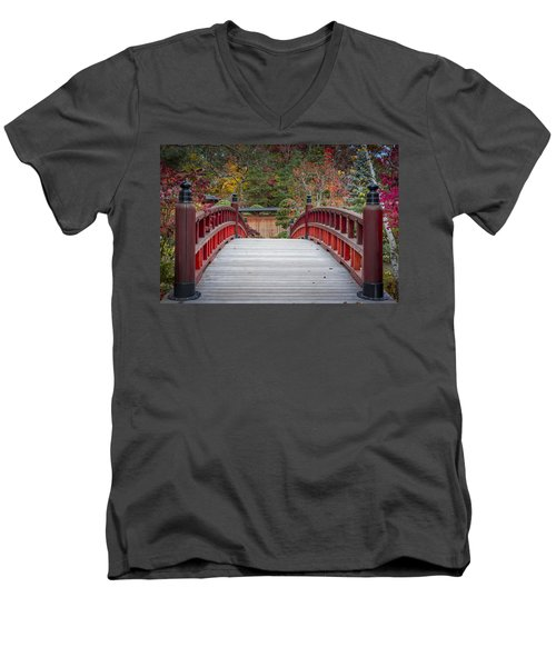 Men's V-Neck T-Shirt featuring the photograph Japanese Bridge by Sebastian Musial