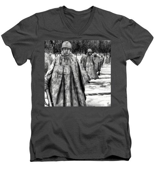 Korean War Memorial Washington Dc Men's V-Neck T-Shirt by Bob and Nadine Johnston