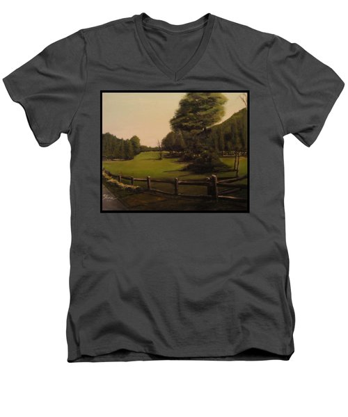 Landscape Of Duxbury Golf Course - Image Of Original Oil Painting Men's V-Neck T-Shirt