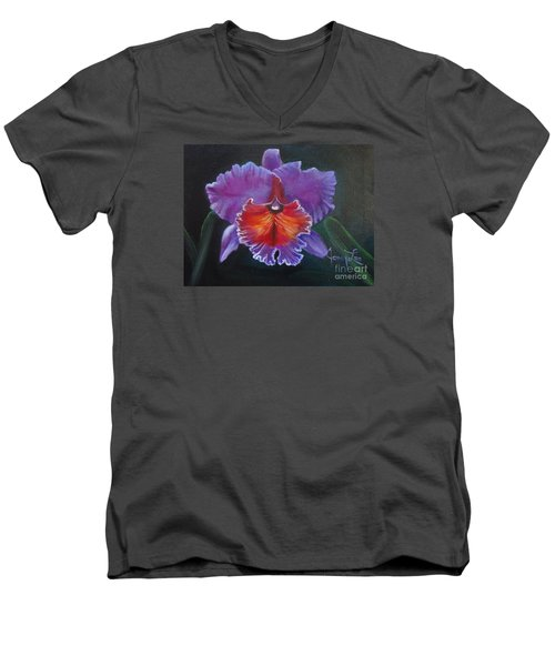 Men's V-Neck T-Shirt featuring the painting Lavender Orchid by Jenny Lee