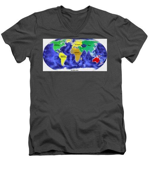 Map Of The World Men's V-Neck T-Shirt by Georgi Dimitrov