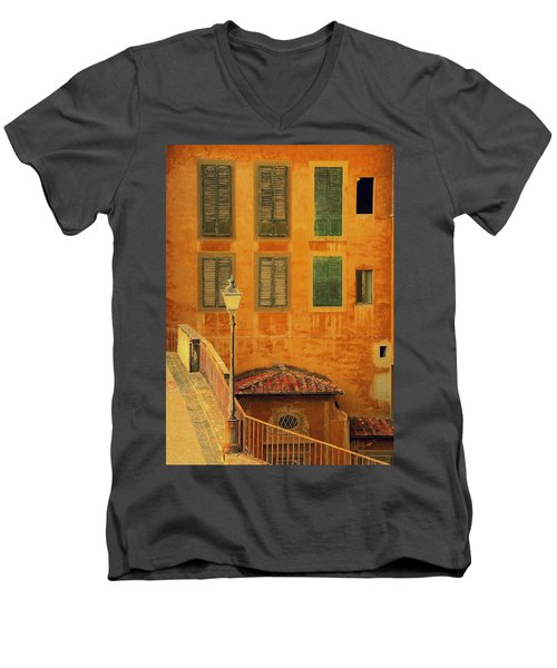 Men's V-Neck T-Shirt featuring the photograph Medieval Windows by Caroline Stella