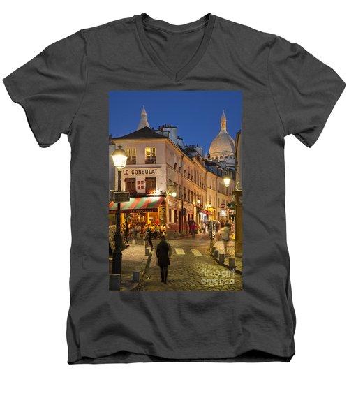 Montmartre Twilight Men's V-Neck T-Shirt by Brian Jannsen