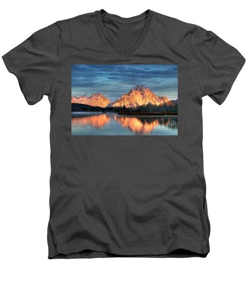 Mount Moran Men's V-Neck T-Shirt by Steve Stuller