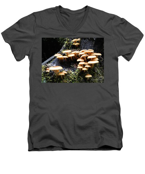 Men's V-Neck T-Shirt featuring the photograph Mushrooms On A Stump by Chalet Roome-Rigdon