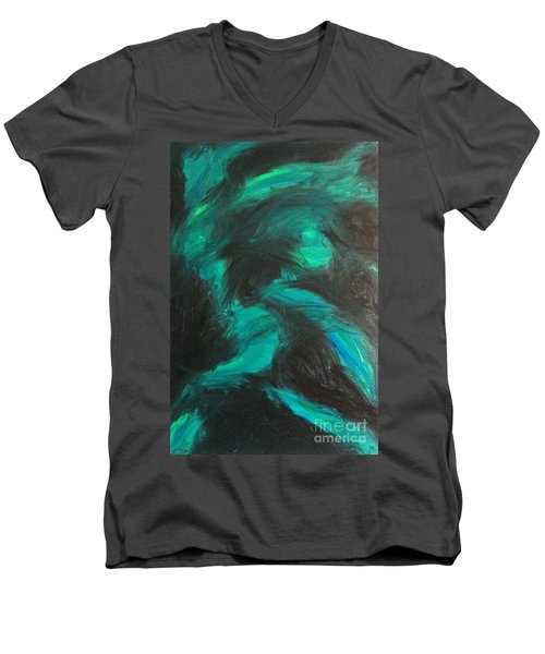 Men's V-Neck T-Shirt featuring the painting Northern Light by Jacqueline McReynolds