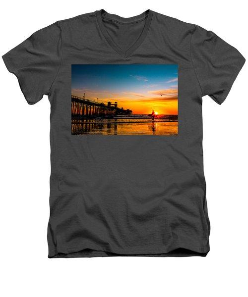 Oceanside Pier At Sunset Men's V-Neck T-Shirt
