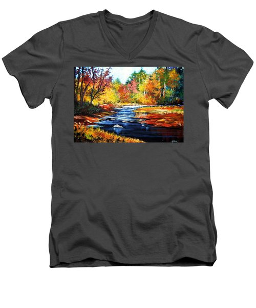 Men's V-Neck T-Shirt featuring the painting October Bliss by Al Brown
