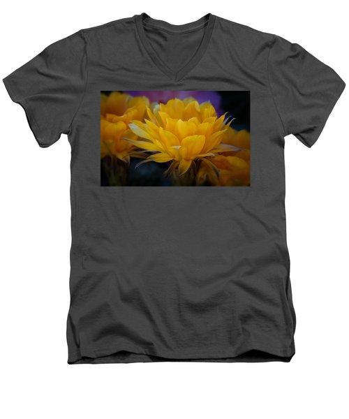 Orange Cactus Flowers  Men's V-Neck T-Shirt
