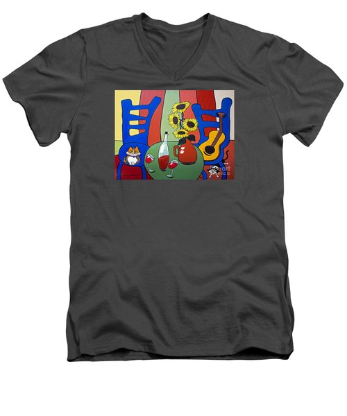 Men's V-Neck T-Shirt featuring the painting Oreo by Barbara McMahon
