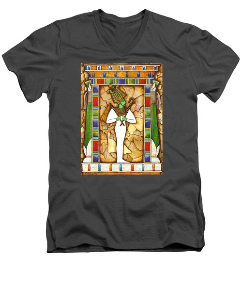 Men's V-Neck T-Shirt featuring the painting Osiris by Joseph Sonday