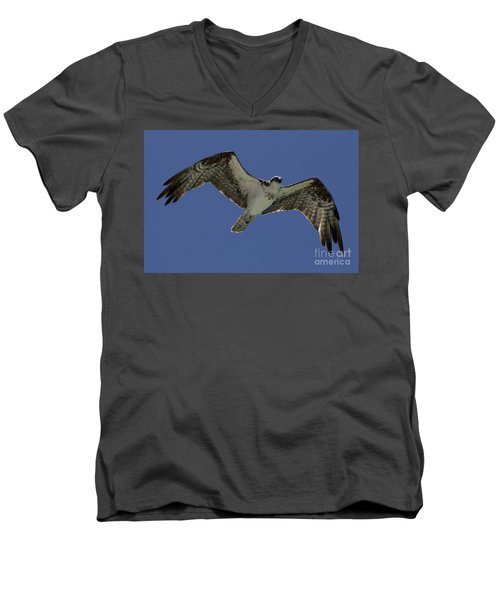 Men's V-Neck T-Shirt featuring the photograph Osprey In Flight Photo by Meg Rousher