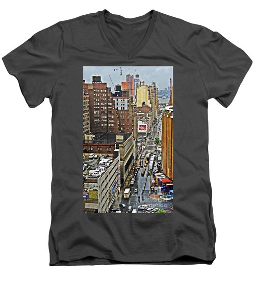 Men's V-Neck T-Shirt featuring the photograph Park N Lock by Lilliana Mendez